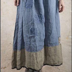 Magnolia Pearl Blue chambray linen Celestyna Skirt